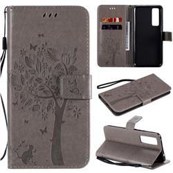 Embossing Butterfly Tree Leather Wallet Case for Huawei nova 7 5G - Grey