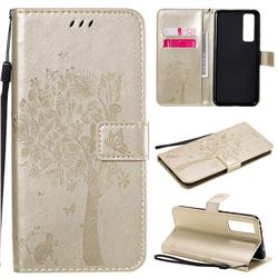 Embossing Butterfly Tree Leather Wallet Case for Huawei nova 7 5G - Champagne