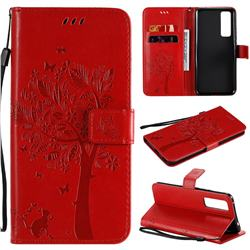 Embossing Butterfly Tree Leather Wallet Case for Huawei nova 7 5G - Red