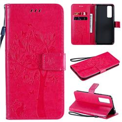 Embossing Butterfly Tree Leather Wallet Case for Huawei nova 7 5G - Rose