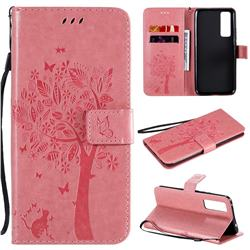 Embossing Butterfly Tree Leather Wallet Case for Huawei nova 7 5G - Pink