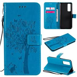 Embossing Butterfly Tree Leather Wallet Case for Huawei nova 7 5G - Blue