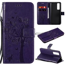 Embossing Butterfly Tree Leather Wallet Case for Huawei nova 7 5G - Purple