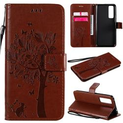 Embossing Butterfly Tree Leather Wallet Case for Huawei nova 7 5G - Coffee