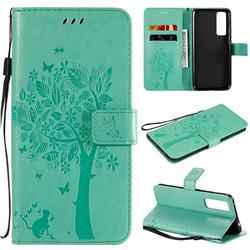 Embossing Butterfly Tree Leather Wallet Case for Huawei nova 7 5G - Cyan