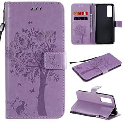 Embossing Butterfly Tree Leather Wallet Case for Huawei nova 7 5G - Violet