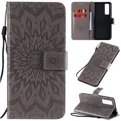 Embossing Sunflower Leather Wallet Case for Huawei nova 7 5G - Gray
