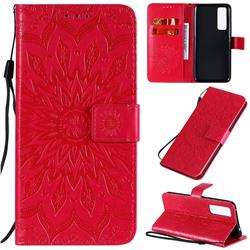 Embossing Sunflower Leather Wallet Case for Huawei nova 7 5G - Red