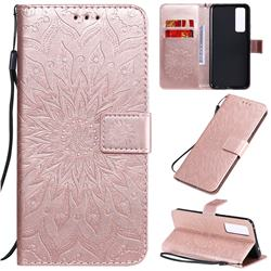 Embossing Sunflower Leather Wallet Case for Huawei nova 7 5G - Rose Gold
