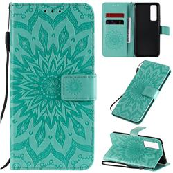 Embossing Sunflower Leather Wallet Case for Huawei nova 7 5G - Green