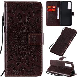 Embossing Sunflower Leather Wallet Case for Huawei nova 7 5G - Brown