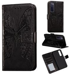 Intricate Embossing Vivid Butterfly Leather Wallet Case for Huawei nova 7 5G - Black