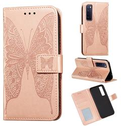 Intricate Embossing Vivid Butterfly Leather Wallet Case for Huawei nova 7 5G - Rose Gold