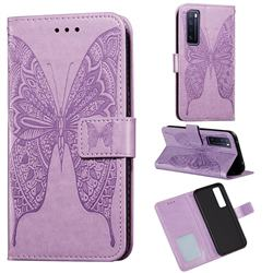 Intricate Embossing Vivid Butterfly Leather Wallet Case for Huawei nova 7 5G - Purple