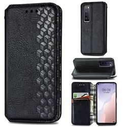 Ultra Slim Fashion Business Card Magnetic Automatic Suction Leather Flip Cover for Huawei nova 7 5G - Black