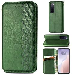 Ultra Slim Fashion Business Card Magnetic Automatic Suction Leather Flip Cover for Huawei nova 7 5G - Green