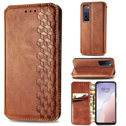 Ultra Slim Fashion Business Card Magnetic Automatic Suction Leather Flip Cover for Huawei nova 7 5G - Brown