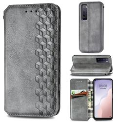 Ultra Slim Fashion Business Card Magnetic Automatic Suction Leather Flip Cover for Huawei nova 7 5G - Grey