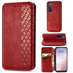 Ultra Slim Fashion Business Card Magnetic Automatic Suction Leather Flip Cover for Huawei nova 7 5G - Red