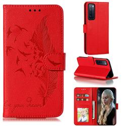 Intricate Embossing Lychee Feather Bird Leather Wallet Case for Huawei nova 7 5G - Red