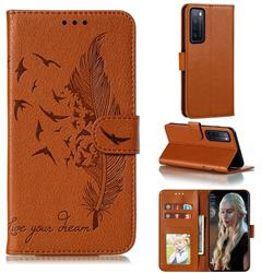 Intricate Embossing Lychee Feather Bird Leather Wallet Case for Huawei nova 7 5G - Brown