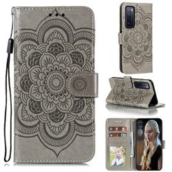 Intricate Embossing Datura Solar Leather Wallet Case for Huawei nova 7 5G - Gray
