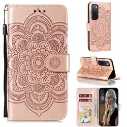 Intricate Embossing Datura Solar Leather Wallet Case for Huawei nova 7 5G - Rose Gold