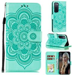 Intricate Embossing Datura Solar Leather Wallet Case for Huawei nova 7 5G - Green