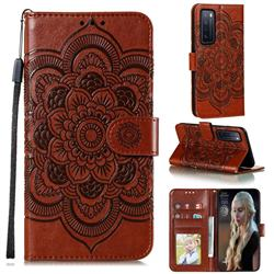 Intricate Embossing Datura Solar Leather Wallet Case for Huawei nova 7 5G - Brown