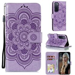 Intricate Embossing Datura Solar Leather Wallet Case for Huawei nova 7 5G - Purple