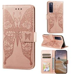 Intricate Embossing Rose Flower Butterfly Leather Wallet Case for Huawei nova 7 5G - Rose Gold