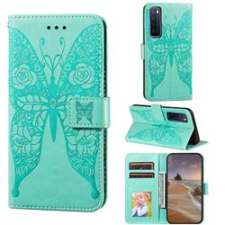 Intricate Embossing Rose Flower Butterfly Leather Wallet Case for Huawei nova 7 5G - Green
