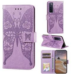 Intricate Embossing Rose Flower Butterfly Leather Wallet Case for Huawei nova 7 5G - Purple