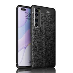Luxury Auto Focus Litchi Texture Silicone TPU Back Cover for Huawei nova 7 Pro 5G - Black