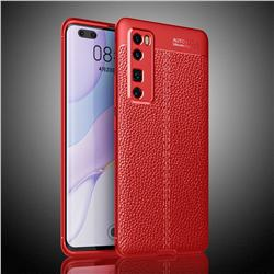 Luxury Auto Focus Litchi Texture Silicone TPU Back Cover for Huawei nova 7 Pro 5G - Red