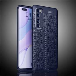 Luxury Auto Focus Litchi Texture Silicone TPU Back Cover for Huawei nova 7 Pro 5G - Dark Blue