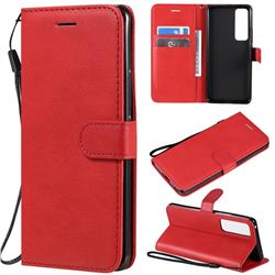 Retro Greek Classic Smooth PU Leather Wallet Phone Case for Huawei nova 7 Pro 5G - Red