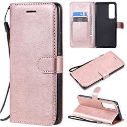 Retro Greek Classic Smooth PU Leather Wallet Phone Case for Huawei nova 7 Pro 5G - Rose Gold