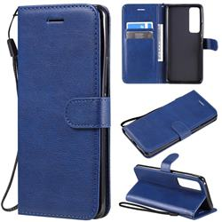 Retro Greek Classic Smooth PU Leather Wallet Phone Case for Huawei nova 7 Pro 5G - Blue