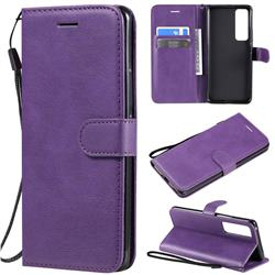 Retro Greek Classic Smooth PU Leather Wallet Phone Case for Huawei nova 7 Pro 5G - Purple