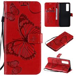 Embossing 3D Butterfly Leather Wallet Case for Huawei nova 7 Pro 5G - Red