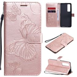 Embossing 3D Butterfly Leather Wallet Case for Huawei nova 7 Pro 5G - Rose Gold