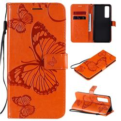 Embossing 3D Butterfly Leather Wallet Case for Huawei nova 7 Pro 5G - Orange