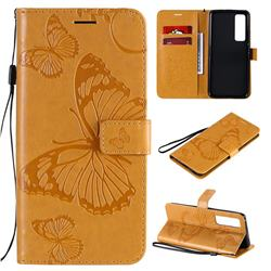 Embossing 3D Butterfly Leather Wallet Case for Huawei nova 7 Pro 5G - Yellow