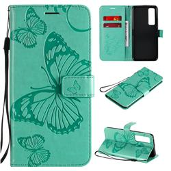 Embossing 3D Butterfly Leather Wallet Case for Huawei nova 7 Pro 5G - Green