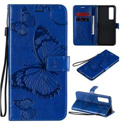 Embossing 3D Butterfly Leather Wallet Case for Huawei nova 7 Pro 5G - Blue