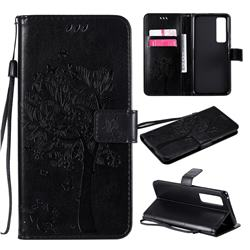 Embossing Butterfly Tree Leather Wallet Case for Huawei nova 7 Pro 5G - Black