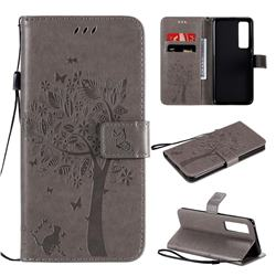 Embossing Butterfly Tree Leather Wallet Case for Huawei nova 7 Pro 5G - Grey