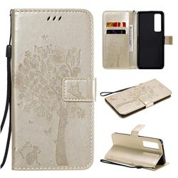 Embossing Butterfly Tree Leather Wallet Case for Huawei nova 7 Pro 5G - Champagne