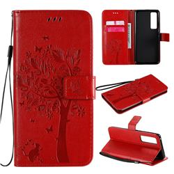 Embossing Butterfly Tree Leather Wallet Case for Huawei nova 7 Pro 5G - Red